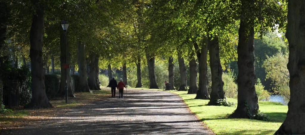 A couple walk along an avenue of trees in The Quarry, Shrewsbury. The path runs alongside the River Severn and this scene can still be photographed when you come on one Philip Dunn's photography workshops and courses in Shropshire