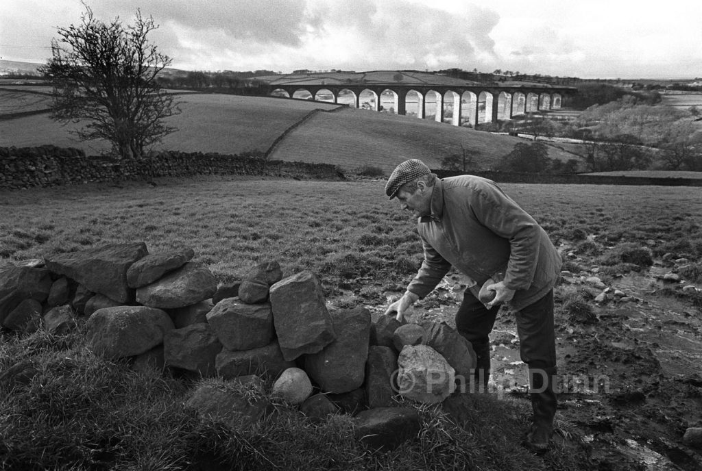 Farmer, mends a stone wall in a field above a railway viaduct, Yorkshire