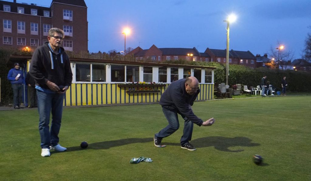 night photography in Shrewsbury - bowling match by flood light, Philip Dunn