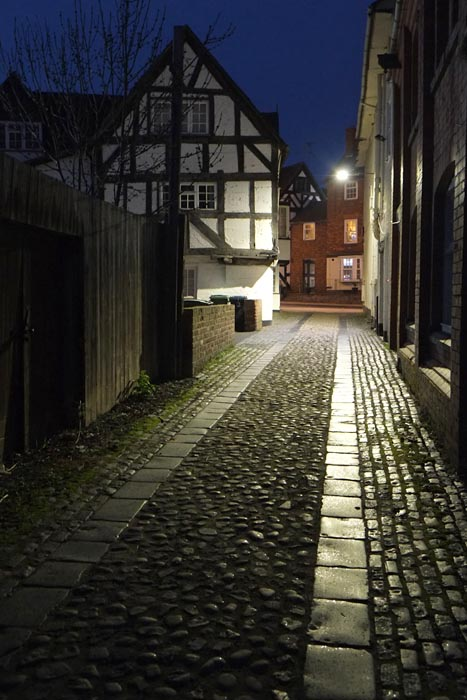 night photography in Shrewsbury cobble stones. Philip Dunn