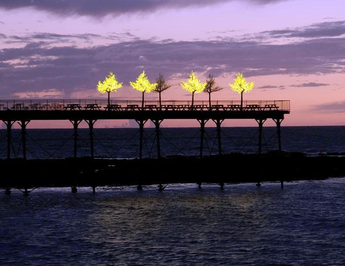 night photography pier sunset